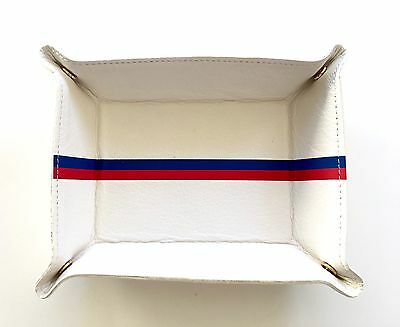 New $165 Clare Vivier V. Leather Jewelry Portable Travel Striped Catchall White