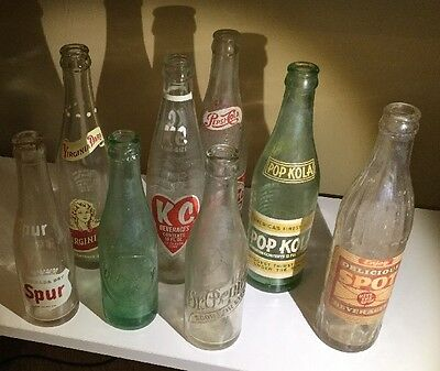 Amazing Collection of 8 Vintage and Antique Soda Bottles Dr. Pepper Spur Spot