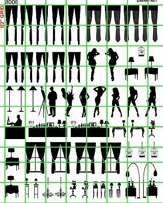 8006 Dave's Decals Ho Scale Window Blind Curtain Silhouette & Furniture Set