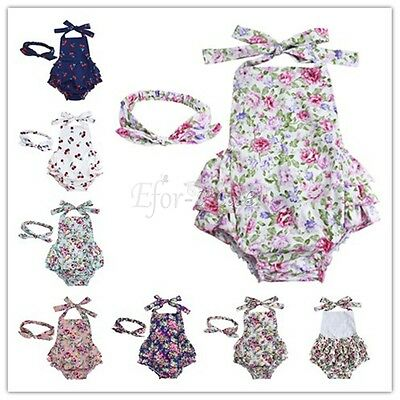 Newborn Baby Girls Romper Jumpsuit Bodysuit+Headband Outfits Floral Clothes 2PCS