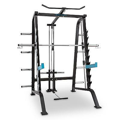 Black Multi-Gym Squat Power Rack Barbell Bar 9 Level Heights 2 Spotter *freep&p*