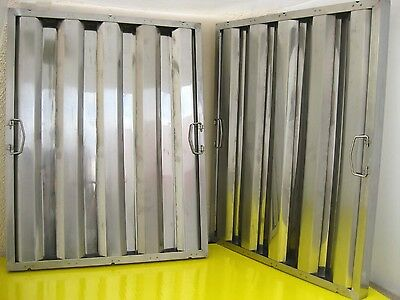 "Box of 6 Restaurant Hood Filters 25""H x 20""W, Stainless Steel Grease Baffle"