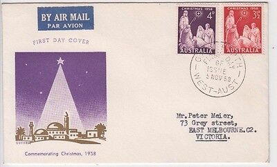 Stamps Australia 1958 Christmas pair on Guthrie specific cachet FDC addressed