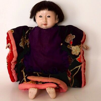 Antiue Vintage Japanese Ichimatsu Boy Gofun Doll Glass Eyes Human Hair 11.5""