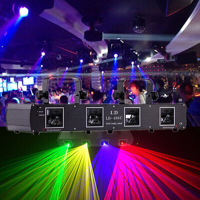 4 Lens 420mW RGPY DMX 7ch Laser Light Disco DJ Stage Party Lighting Club Party