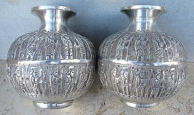 PERSIAN PARVARESH ANTIQUE SILVER 84 PAIR OF VASES w/ ENGRAVED EPIC SCENES 690gr.