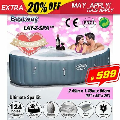 Lay-Z-Spa Siena Inflatable Spa Cover Outdoor Portable Hot Tub Water Filter Pump