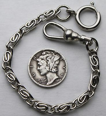 Short Pocket Watch Chain Silver Plated Civil War Style Twisted Link USA