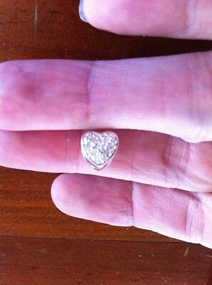 Genuine Sterling Silver 925 Cubic Zirconia Heart Charm Bead - NEW