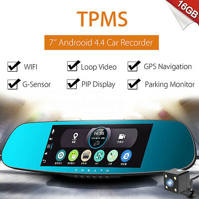 7''HD Android TPMS WIFI GPS Car DVR Rearview Mirror Driving Dual Camera Recorder