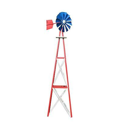 138 in. Large Red White Blue Powder Coated Backyard Windmill Outdoor Decorative