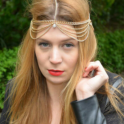 Celebrity Fashion Gold Hera Greek Goddess Hair Chain Head Arabian Jewellery