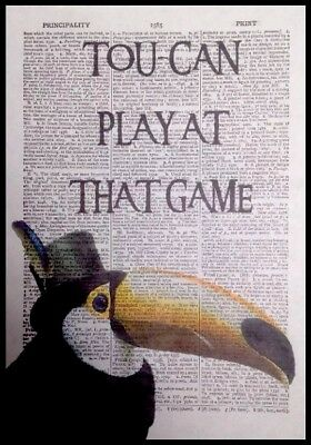 Toucan Bird Print Vintage Dictionary Page Wall Art Picture Print Funny Quote Pun
