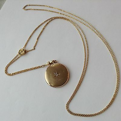 Victorian Gold Filled Watch Slide Chain Necklace With Locket K3