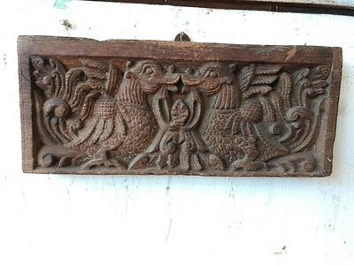 Antique Peacock Wall Hanging Small Wooden Panel Vintage Home Decor Rare