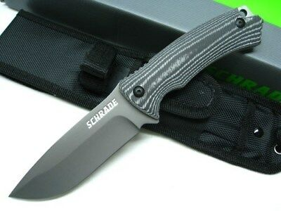 SCHRADE Micarta Full Tang Straight Fixed Blade SURVIVAL Knife + Sheath! SCHF61
