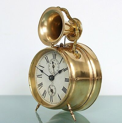 JUNGHANS PFEILKREUZ Alarm UNUSUAL Clock Antique BELL Mantel 1910s Germany
