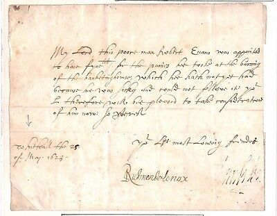 1623 GB PARLIAMENTARY Historic Letter Headed (Old Palace Of) 'Whitehall'/ALS Sig