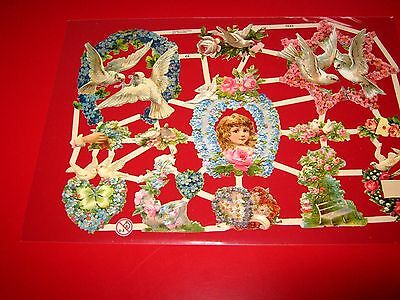 Vintage Style Die Cut  Paper Scraps Girl/ Doves New