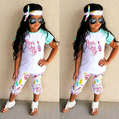3pcs Summer Toddler Baby Girls Outfits Headband &T-shirt &Pants Kids Clothes Set