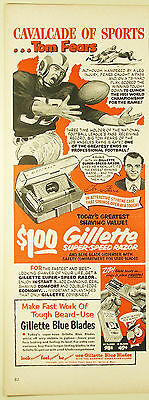 Vintage 1952 GILLETTE SUPER-SPEED RAZOR & BLADES Lg Magazine Print Ad: FOOTBALL