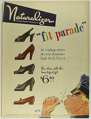 Vintage 1945 NATURALIZER SHOES Large Magazine Print Ad - BROWN SHOE CO.