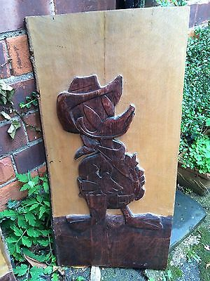 Vintage Pair Large Disney Signed Wood Carvings,Goofy & Donald Duck,Shed Art.