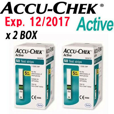 ACCU CHEK Active Test Strips 100Sheets Diabetic Blood Medical Check Exp.2017.12