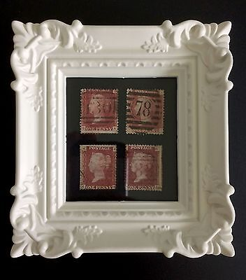 QV Stamps - four Penny Reds in frame