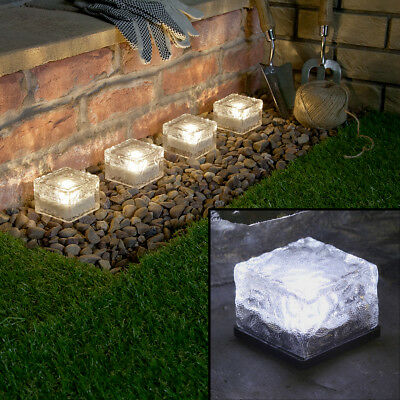 Solar Powered Outdoor Garden Patio Decking Pathway Glass Brick Cube Led Lights