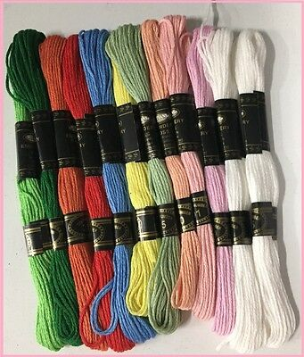 1 X PK of 12 THREADS X EMBROIDERY CROSS STITCH 100 % COTTON,11 X COLOURS