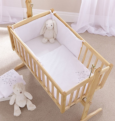 Brand new in pack Clair de lune 2 piece starburst swinging crib set in white