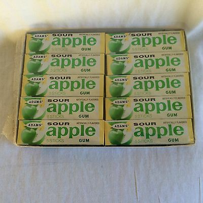vintage sealed box of Adams Sour Apple chewing gum 20 packs new and sealed (BH)