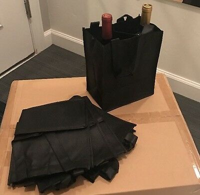 100 Non Woven Black 2 Bottle Wine Bags 8 X5x10 With 16 Inch Handle
