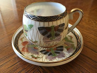 Antique Japanese Kutani Demitasse Tea Cup & Saucer Set Porcelain Butterflies