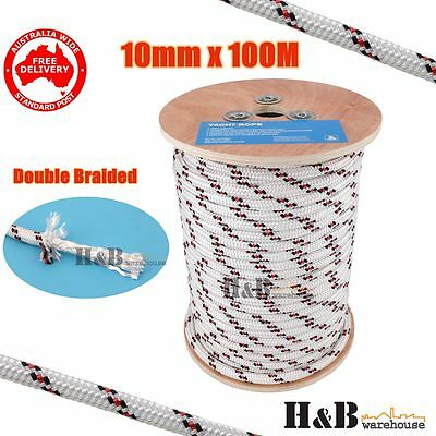 10mm 100M Double Braided Polyester Rigging Line Yacht Rope Boat Mooring BR