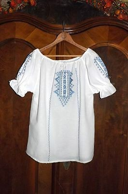 VINTAGE 70'S ETHNIC PEASANT TOP~Mexican/Hungarian/Romanian Hippie Blouse M/L