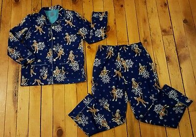 Nick & Nora Sleepwear youth LARGE 12 14 blue snow monkeys winter 2 pc pajama set