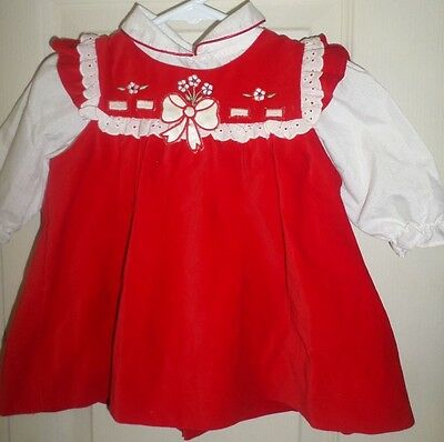Vintage Infant Baby Holiday Pinafore Frock Dress Floral Bow Red