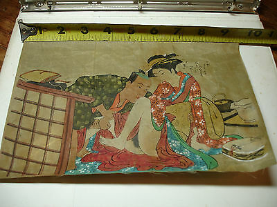 "2 Antique JAPANESE SHUNGA Woodblock PRINTS ON SILK 9.5""x 6.5"" Orig Art Signed"