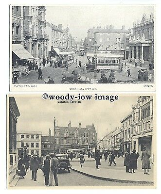 tb0266 - Suffolk - Both Trams or Cars at the Cornhill,  in Ipswich - 2 postcards