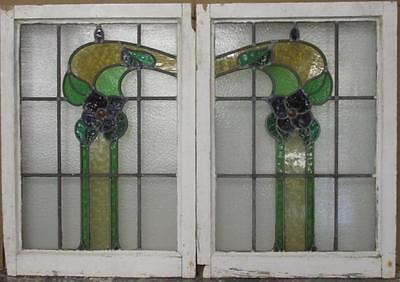 """PAIR OF OLD ENGLISH STAINED GLASS WINDOWS Pretty Floral 43"""" x 29.5"""" 2 Included"""