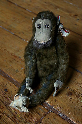 Sweet Antique Straw Stuffed Monkey for TLC Possibly Steiff Glass Eyes Vintage
