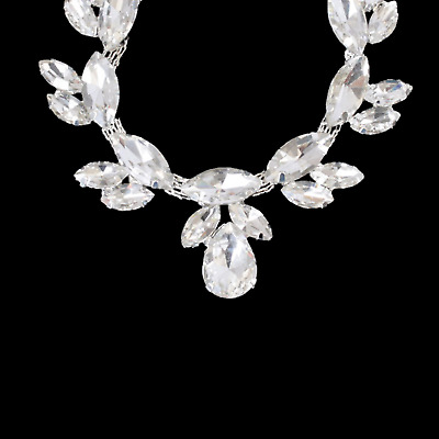 Silver Rhinestone Diamante Crystal Sew on Chain Applique Motif Wedding Trim B205