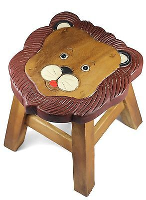 Kids Childrens Childs Wooden Stool Chair. Lion Face