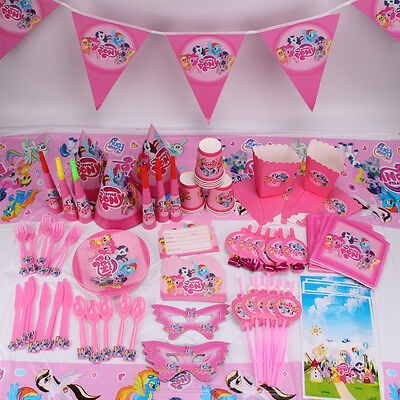 New My Little Pony Girls Theme Tableware Favor Kids Birthday Party Supplies Gift