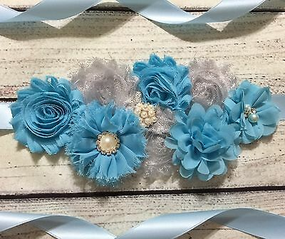 Silver And Blue Maternity Sash Belt /Baby Showers Vintage Belt /Flower Girl Sash