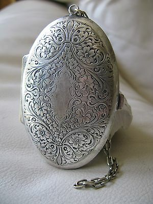 Antique Art Nouveau Chatelaine Floral Engraved Purple Coin Holder Compact Purse