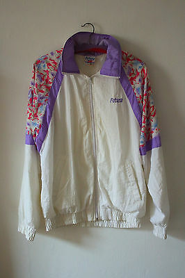 Vintage Futura Shell Suit Top 80's/90's Festival Jacket 12 White Purple Floral