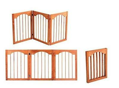 Pet Store Arch Style Solid Wood Pet Gate Fold Brown Indoor Outdoor Barrier Brown